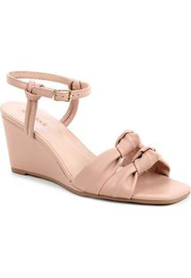 Sandália Shoestock Soft Anabela Feminina - Feminino-Nude