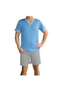 Pijama Masculino Adulto Gola V Manga Curta Shorts Curto Estampado Verão - Azul Cobalto