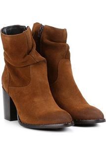 Bota Couro Cano Curto Shoestock Slouch Feminina - Feminino