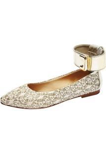 Sapatilha Jane Vintage Renda Marfim