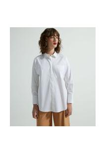 Camisa Alongada Manga Longa Em Tricoline Com Bolsinho Frontal | Cortelle | Branco | Pp