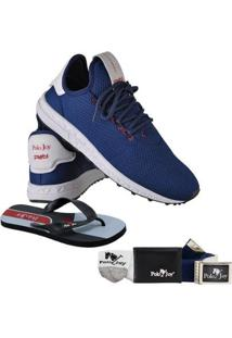 Kit Tênis Polo Joy Com Carteira Chinelo Cinto E Meia Masculino - Masculino-Azul Escuro