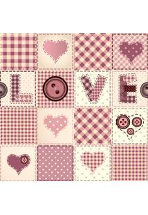Papel De Parede Adesivo Patchwork Love Rosa (0,58M X 2,50M)