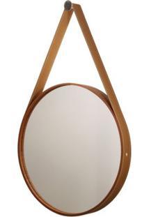 Espelho Formacril Redondo Com Moldura De Madeira Com Cinta De Couro Marrom A: 56 Cm X C: 56 Cm Mogno
