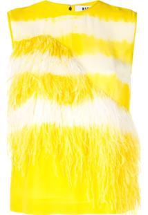 Msgm Blusa Com Aplicação De Plumas - Amarelo