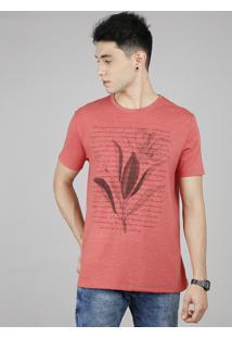 Camiseta Masculina Texto Manga Curta Gola Careca Coral