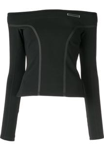 Christian Dada Off The Shoulder Taped Blouse - Preto