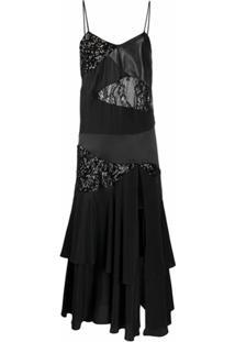 Almaz Vestido Alças Finas Com Patchwork E Babado - Preto