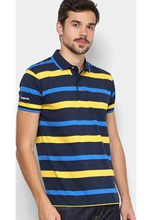 Camisa Polo Aleatory Listrada Fio Tinto Logo Bordada Masculina - Masculino -Azul+Amarelo 9b8b7214c8594