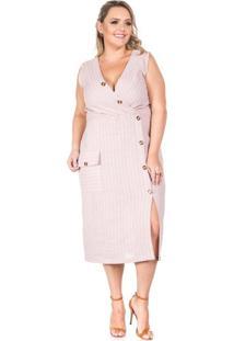 Vestido Rosa Plus Size Listrado