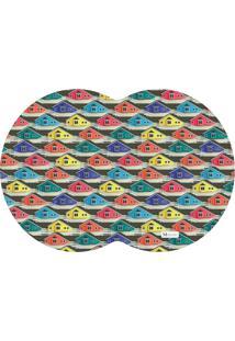 Tapete Pet Mdecore Geométrico Casas Colorido 54X39Cm