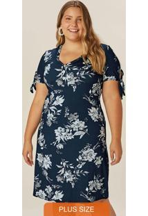 Vestido Azul Marinho Floral Com Amarração
