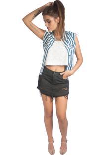 Colete Gringa.Com Jeans Navy Branco