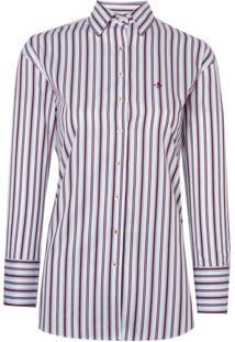 Camisa Dudalina Manga Longa Tricoline Fio Tinto Listrado Irregular Feminina (Listrado, 36)