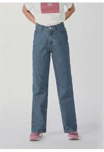 Calça Feminina Reta Cintura Super Alta Em Jeans Az