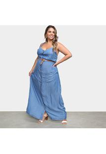 Vestido Cambos Plus Size Longo Botões - Feminino-Azul Claro