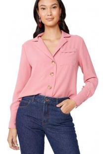 Camisa Amaro Manga Longa Bolso Frontal Feminina - Feminino