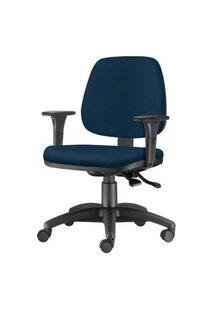 Cadeira Job Com Bracos Assento Courino Azul Escuro Base Nylon Arcada - 54615 Azul