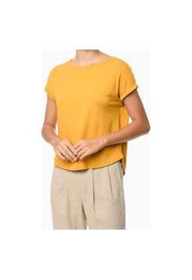 Blusa Básica Com Manga Curta Dobrada Amarelo Calvin Klein