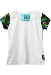 Camiseta Baby Look Feminina Algodão Estampa Folha Moderna - Feminino-Branco+Verde Limão