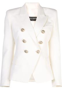 Balmain Peaked Lapel Blazer Jacket - Branco