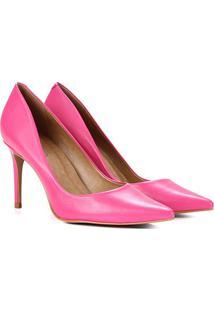 Scarpin Couro Carrano Bico Fino Salto Médio Feminino - Feminino-Pink