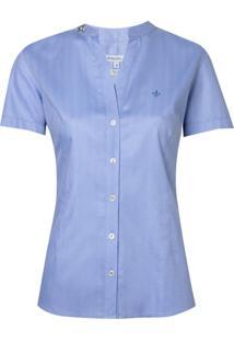 Camisa Ml Fem Cetim Maq Bord Pedrarias (Azul Claro, 42)