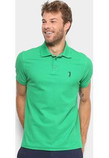 Camisa Polo Aleatory Piquet Bordado Masculina - Masculino-Verde