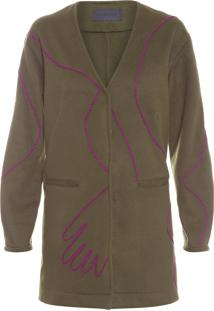 Trench Coat Feminino Bordado - Verde
