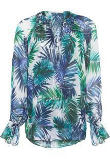 Camisa Feminina Palmeira Amarração - Branco E Azul
