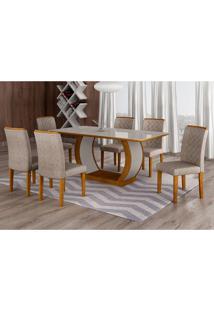 Conjunto De Mesa De Jantar Com Vidro E 6 Cadeiras Maia Iii Suede Amassado Imbuia E Chocolate