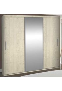 Guarda-Roupa Casal 3 Portas Com 1 Espelho 100% Mdf 1985E1 Marfim Areia - Foscarini
