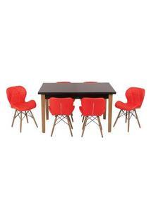 Conjunto Mesa De Jantar Luiza 135Cm Preta Com 6 Cadeiras Slim - Vermelho