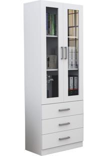 Armário P/ Escritório C/ Porta De Vidro 3 Gavetas Office Plus Branco Appunto