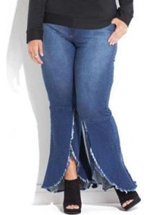 Calça Jeans Plus Size Barra Desfiada E Transpassada Quintess Feminina - Feminino-Azul