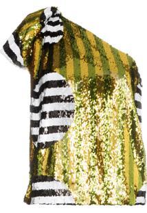 Halpern One-Shoulder Sequin-Embellished Top - Multicoloured