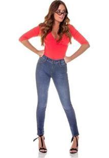 Calça Jeans Denim Zero Skinny Média Com Listra Lateral Feminina - Feminino-Azul