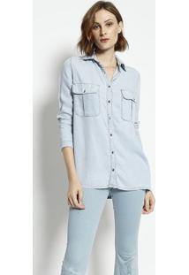 Camisa Jeans Com Bolsos- Azul Claroenna