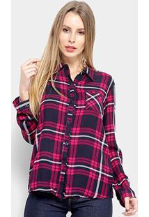 Camisa Adooro Manga Longa Xadrez Feminina - Feminino-Rosa