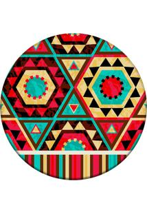 Tapete Love Decor Redondo Wevans Abstrato Colorido Vermelho 84Cm