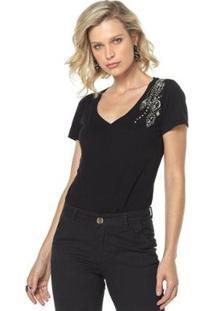 T-Shirt Daniela Cristina Gola V Profundo 04 602Dc10304 Preto Pp - Feminino-Preto