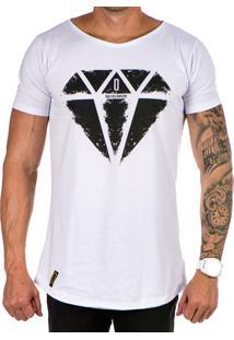 Camiseta Lucas Lunny Oversized Longline Diamante Branca