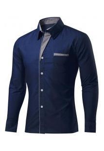 Camisa Masculina Slim Fit Com Detalhes Listrados Manga Longa - Azul Escuro