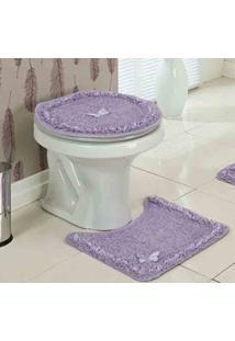 Jogo De Banheiro Delicato Lilas Com 3 Peças - Enxovais Ibitinga