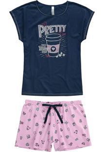 Pijama Curto Estampado Pretty Malwee Liberta