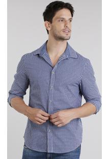 Camisa Masculina Slim Xadrez Manga Longa Azul Marinho