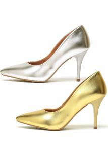 Kit 2 Pares De Scarpin Casual Salto Médio Metalizado Ellas Online Dourado - Kanui