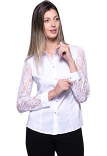 Camisa Lovestone Manga Longa Algodão Rendada Branco