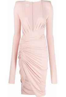 Alexandre Vauthier Vestido Decote Em V Drapeado - Rosa