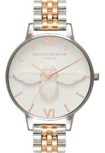 Relógio Olivia Burton Feminino Aço Prateado E Rosé - Ob16Am156